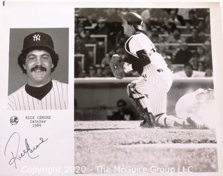 Autographed Black & White Photo of Rick Cerone, Catcher NY Yankees Baseball