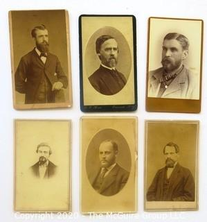 Six Antique Cabinet Cards of Men with Beards