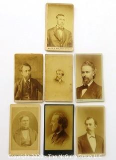 Seven Antique Cabinet Cards of Men with Daring Facial Hair