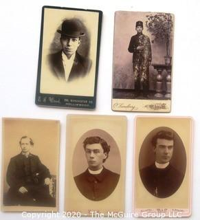 Five Antique Cabinet Card Photos of Men.  Includes a Clergyman, a Soldier and  a Bowler Hat