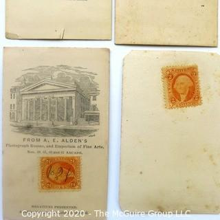 Five Antique Cabinet Card Photos of Men with Stamps the Back.