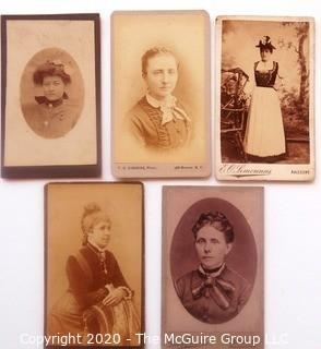 Five Antique Cabinet Card Photos of Young Women.