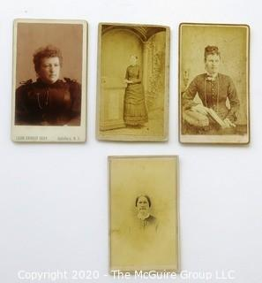 Four Antique Cabinet Card Photos of Women of a Certain Age.  One with Stamp.