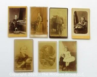 Seven Antique Cabinet Card Photos of Young Children.