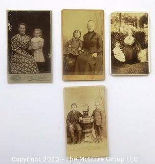 Seven Antique Cabinet Cards of Families with Children and a Classroom.
