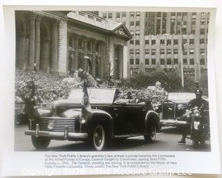 Black & White Large Format Photo of General Eisenhower in Parade in New York City, 1945.