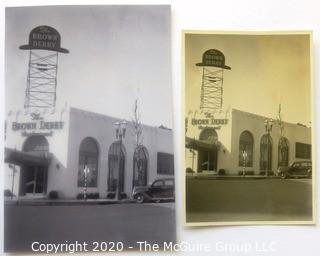 Group of Restaurant Promotional Items and Photo Graphs including the Brown Derby, Los Angeles California.