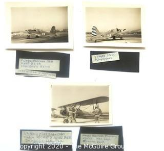 Three Black & White Photos of 1939 - 1944 USAF Fighter Planes and BiPlane with Pilots.