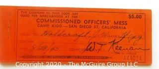 Post WWII French Gas Ration Book and Camp Kidd, San Diego CA,  Commission Officer Mess Coupon Book