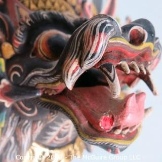 Asian Style Carved Wooden Dragon Mask