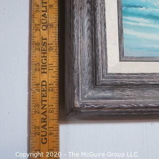 Framed Hand Painted Oil on Canvas of Beach Scene in Blue Signed By Artist