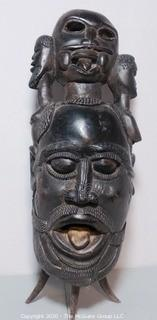 Large Ethnographic Carved Wooden Tribal Figural Statue or Drum with Leather Back.  Possibly Made of Ebony.