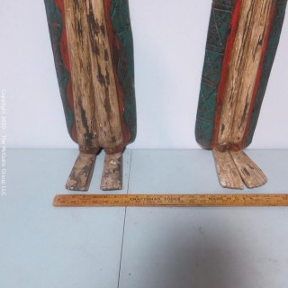 Pair of Two Asian Style Carved Matching Goddess Wall Plaques