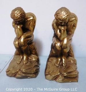 Set of Two Heavy Bronze or Brass Bookends in the Style of the Thinker by Rodin.