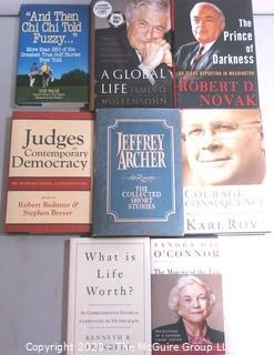 Group of Political Themed Books, Many Signed by the Author. Includes Karl Rove, James Wolfensohn, Robert Novak & Kenneth Feinberg,