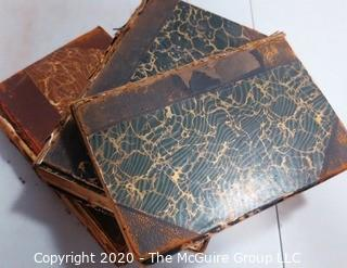 Three Antique Marbled Cover with Leather Binding Books.  Covers are separating.