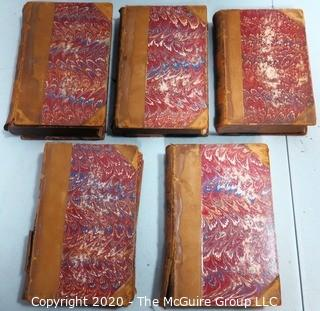 1881 Antique Set of Books  with Marbled Cover and Leather Binding.   Some books have covers that are separating and damaged.