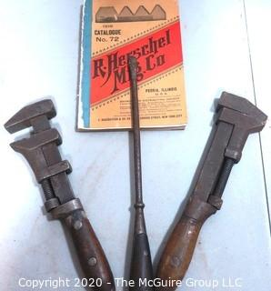 "Collection of Antique Tools including a TEMCO 10"" Monkey Wrench and Oval Handled Flathead Screwdriver, and 1916 Copy of R Herschel Mfg.Co Tool Catalog (Note: Description Altered 7/29/20 at 18:32 ET)"