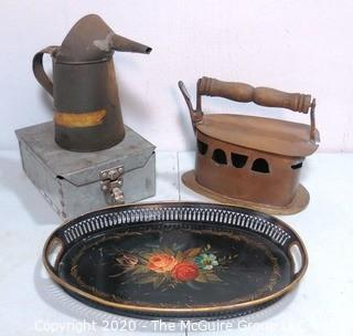 Four Metal Vintage Household Items.  Includes Steam Iron and Told Tray.
