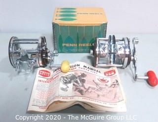 Two Vintage Penn Jigmaster Fishing Reels, One With Box and Instructions.