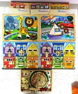 Group Melisa & Doug Children's Pre-School Wooden Tray Jigsaw & Dexterity Puzzles - Room 13 Toy Closet {marked lot 182}