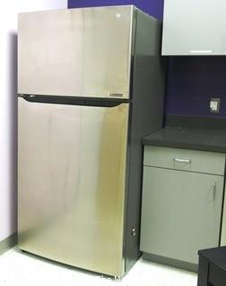 "33"" x 31"" x 68"" Stainless Steel LG Refrigerator - Room 20 Kitchen {marked lot 77}"