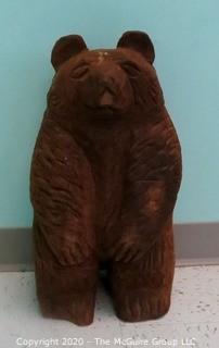 "21"" Tall Carved Wooden Bear Statue - Room 11"