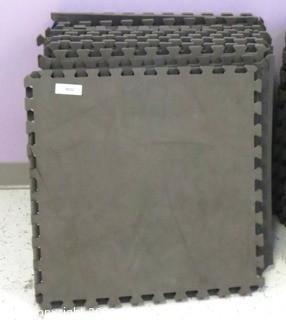 "Group of 20 Interlocking Grey Foam Floor Cushioning Tiles.  Measure 24"" x 24"".  -  Room 8"