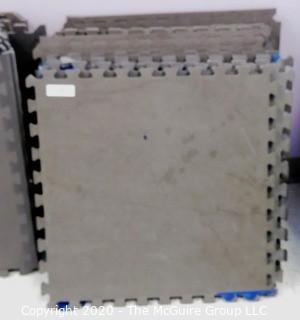 "Group of 20 Interlocking Grey Foam Floor Cushioning Tiles.  Measure 24"" x 24"".  -  Room 9"