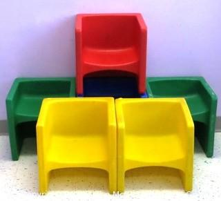 "Set of (6) Children's Heavy Plastic Modular 14"" Cube Chairs/Tables"