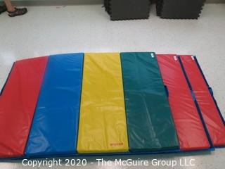"Three individual lots - one picture - one mat each lot 48"" x 68"" Rainbow Folding Tumbling Mat  - Room 11 {marked lot 91}"