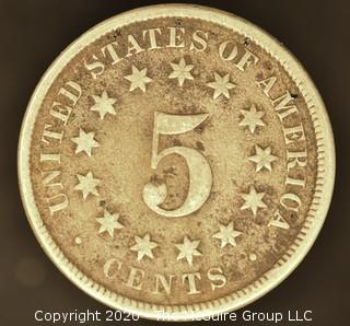 1869 Shield Nickel No Rays