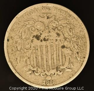 1868 Shield Nickel No Rays
