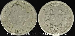 """1908 """"V"""" Nickel"""