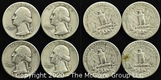 (4) U.S. Silver Quarters: 1-1947; 3-1948