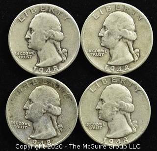 (4) 1948 U.S. Silver Quarters
