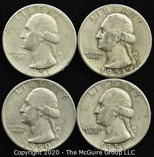 (4) U.S. Silver Quarters; 3-1951; 1-1950