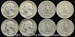 (4) U.S. Silver Quarters; 2-1951; 2-1952