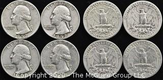 (4) 1952 Silver U.S. Quarters