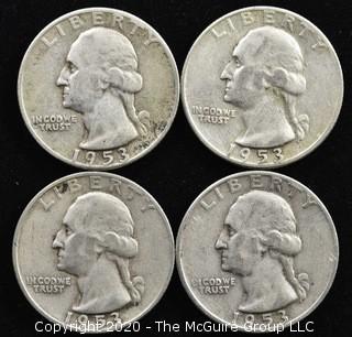 (4) 1953 Silver U.S. Quarters