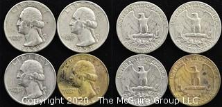 (4) U.S. Silver Quarters: 3-1953; 1-1954