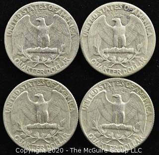 (4) U.S. Silver Quarters: 3-1955; 1-1954