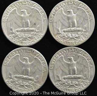 (4) U.S. Silver Quarters; 3-1956; 1-1958