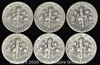 (6) U.S. Silver Dimes: 5-1946; 1-1947