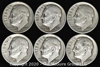 (6) 1947 U.S. Silver Dimes: 5-1946; 1-1949