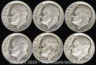 (6) 1947 U.S. Silver Dimes