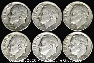 (6) U.S. Silver Dimes: 3-1947; 3-1948