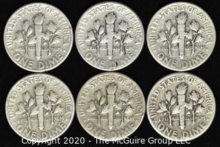 (6) U.S. Silver Dimes: 3-1948; 3-1949