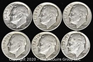 (6) 1950 U.S. Silver Dimes