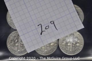(6)U.S. Silver Dimes: 4-1951; 2-1950